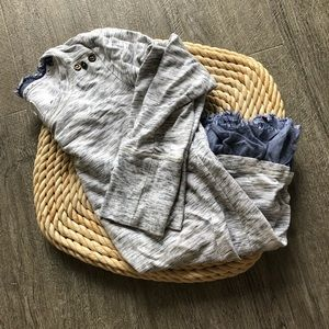 saturday sunday gray layered chambray top
